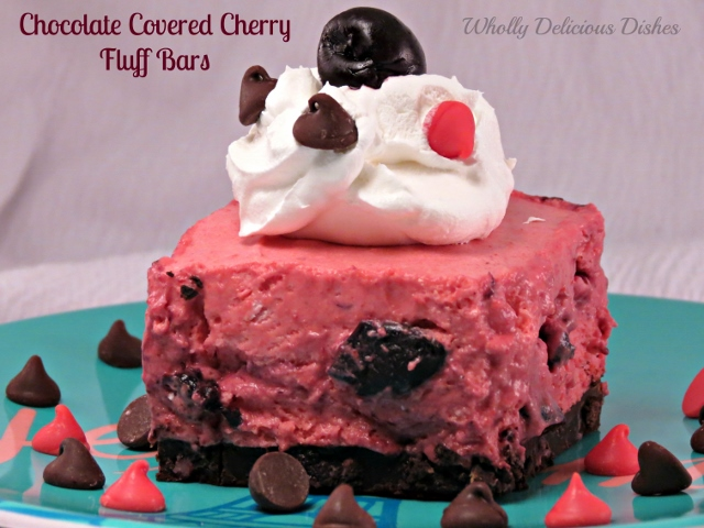 Chocolate Covered Cherry Fluff Bars whollydeliciousdishes.com #dessertchallenge #chocolatecherry